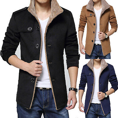 Fur Fleece Men's Casual Coat Winter Long Trench Coat Overcoat Warm Slim Jacket