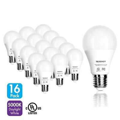 Tenergy 16-PK 9W LED Light Bulbs 60 Watt Equivalent A19 E26 5000K Daylight White