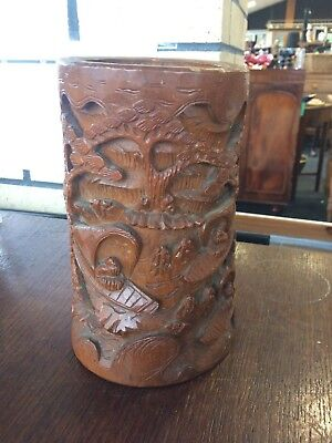 Antique Chinese Bamboo Brush Pot with Carved Pictures