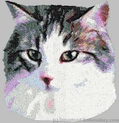 Embroidered Long-Sleeved T-Shirt - Norwegian Forest Cat DLE2660