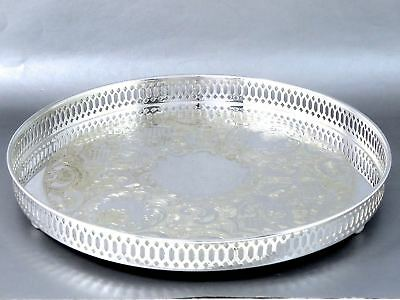 """Vintage Top Quality HENRY BIRKS SIlverplate ROUND GALLERY TRAY Ball Feet 12"""""""