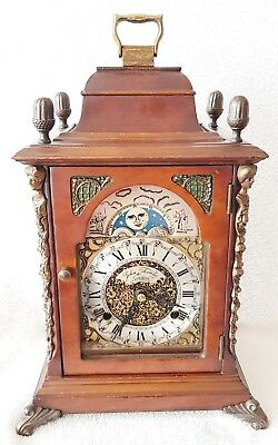 Mantel Shelf Clock Vintage Hermle 1970 Dutch Bracket Nut Wood 8 Day Moonphase