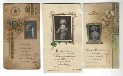 SET of 3 old vintage HOLY CARDs with REAL PHOTO. Jesus Sacred Heart FRANCE 1910s