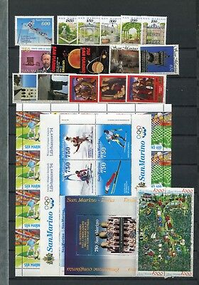 SAN MARINO 1994 MNH COMPLETE YEAR (with FOOTBALL SHEET)