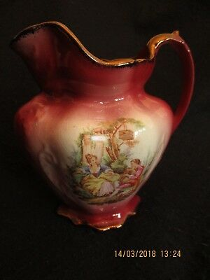 "VINTAGE OLDCOURT WARE 6.25"" PICTORIAL PITCHER After Fragonard c.1950's EX"