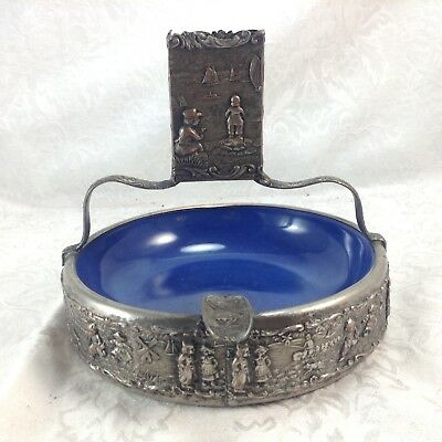 Dutch Repousse Cigarette Match Holder Ashtray Vintage Silverplate Figural