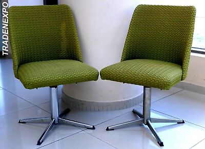 RETRO 2xVintage 1960's EAST GERMAN Green Swivel Chair/Seat/Stool Set Metal Art