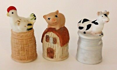 "3 Enesco Porcelain Thimbles Farm Animal Animals Pig Chicken & Cow 2"" tall VGU"