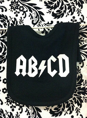 Abcd Funny Baby Bib - Rock And Roll - Boy Or Girl - Shower Gift - Color Choice
