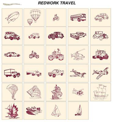 REDWORK TRAVEL. CD or USB machine embroidery designs files most formats pes etc
