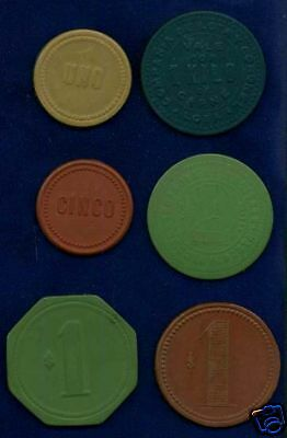 CHILE   1920's   NITRATE MERCHANT / TRADE TOKENS,  (6)