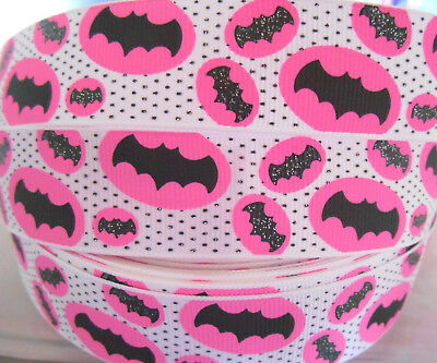 "2 or 5 yds  BATGIRL character glitter 1"" Grosgrain Ribbon Card Cake Bow Craft"