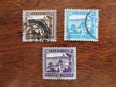 (3) 1927 Palestine Middle East Postage Stamps Scott #80 #81 #82 Used Condition