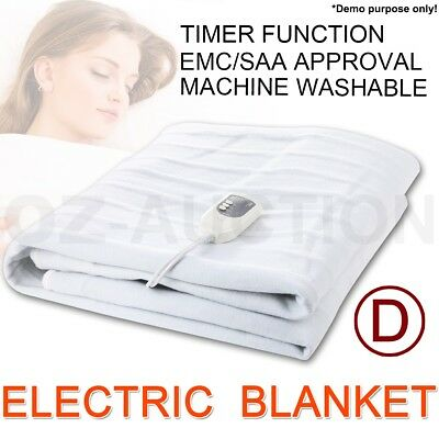Double Size Fitted Heated Electric Blanket Detachable Dual Control Polyester