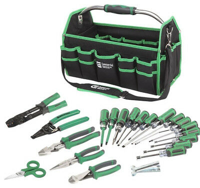 Electrician's Tool Kit 22-Piece Pliers Screwdrivers Bag Commercial Electric Set
