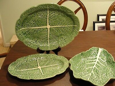 "Borballo Pinheir Cabbage 3 Service Platter 17"", 14 1/2"" And 15 1/2 Oval Platter"