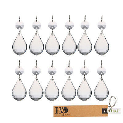 30 Clear Glass Crystals Chandelier Lamp Lighting Part Prisms Drops Pendants 38mm