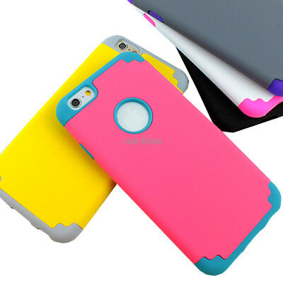 For Apple iPhone 6s 6 Plus Armor Hybrid Rubber Phone Case+Tempered Glass Screen