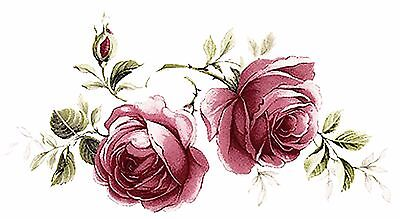 "4 Pink Jubilee Rose Flower 3-7/8""  Waterslide Ceramic Decals Bx"