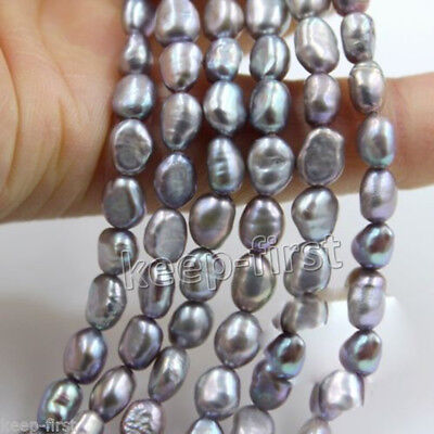 """9-10mm Natural Gray Baroque Freshwater Pearl Gemstone Loose Beads 15"""" Strand"""