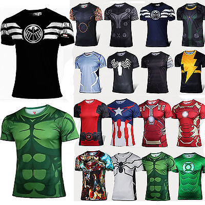 Compression Marvel Superhero The Flash Men Top T-Shirt Sports Gym Cycling Jersey
