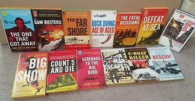 Lot of (13) vintage WWII related paperback books 1950's-60's Excellent condition