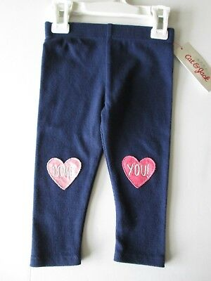 NWT-Baby Cat & Jack Infant Girl's Navy Love You! Leggings-NB, 0/3, 3/6, 6/9 M