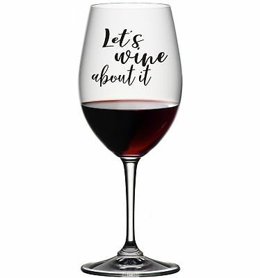 3 X Let's Wine About It Stickers Decals For Glass Available In 24 Colours Gift