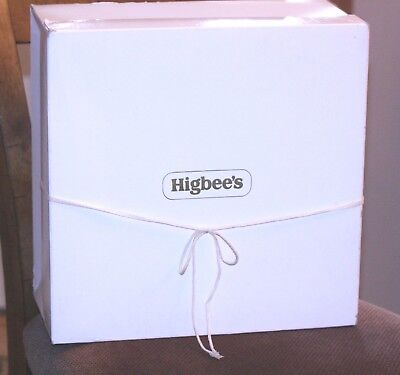 "Vintage Hat Box Hatbox HIGBEE'S Department Store large square 14 3/4"" x 6 1/2"""