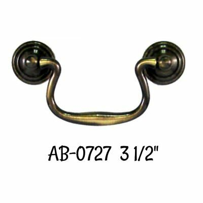 """Drawer Pull 3.5"""" - Queen Anne Style Antiqued Cast Brass Bail Pull with Antiqued"""
