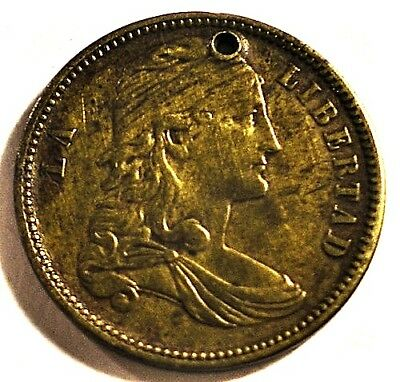 MEXICO Political Patriotic Medal c1860-1870's LA LIBERTAD 22mm Brass Hole Ppd-US