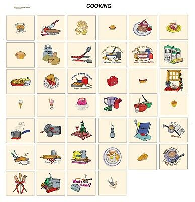 COOKING. CD or USB machine embroidery designs files many formats pes jef hus etc