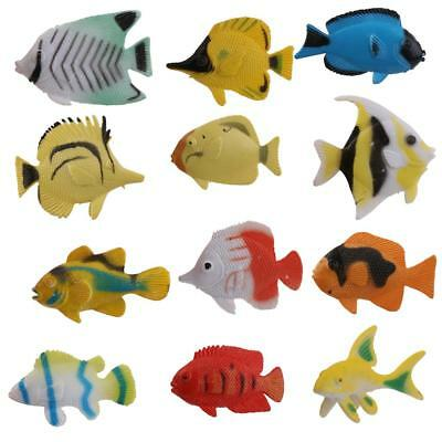 12pcs Artificial Tropical Fish Floating Moveable Aquarium Fish Tank Toy