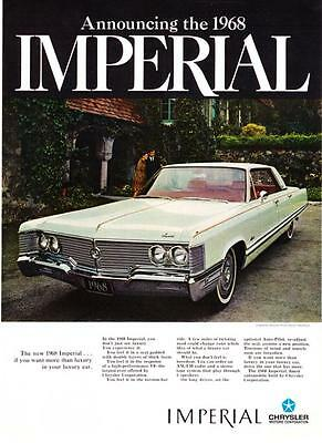 """1968 white Imperial Crown 4-door Hardtop photo """"More Than Luxury"""" promo print ad"""