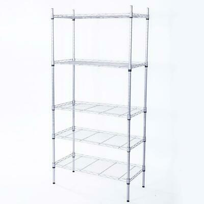 5 Level Garage Wire Metal Shelving Adjustable Steel HeavyDuty Storage Shelf