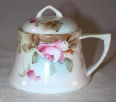 Colorful Hand Painted Porcelain Nippon Condiment Mustard Jar With Spoon Japan