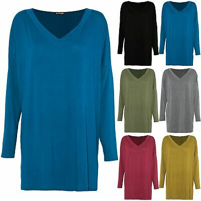 Womens Ladies Long Sleeve Baggy Loose Fit Oversized Deep V Neck Tee Top T Shirt