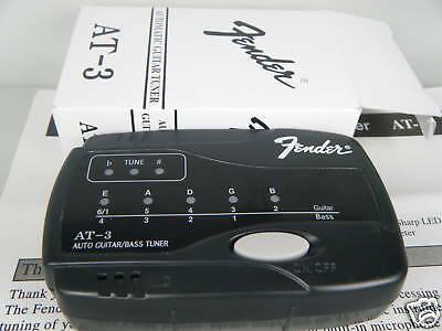 Geniune Fender AT-3 Automatic Guitar/Bass Tuner Black With Box And Manual