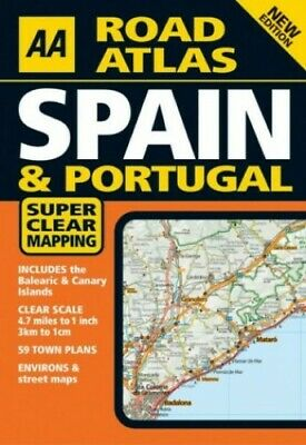 AA Road Atlas Spain & Portugal (AA Atlases) Paperback Book The Cheap Fast Free