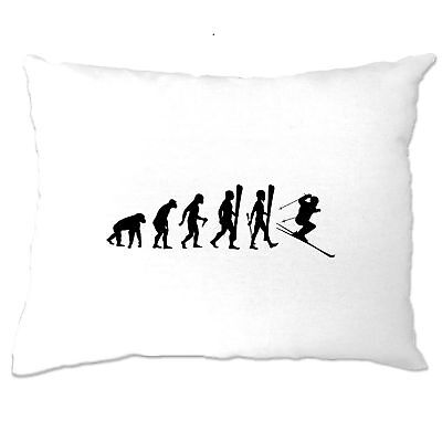 Evolution Of Skiing Darwins Theory Of Evolution Parody Novelty Pillow Case
