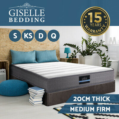 Giselle Mattress Queen Double King Single Bed Bonnell Spring Firm Foam 20cm