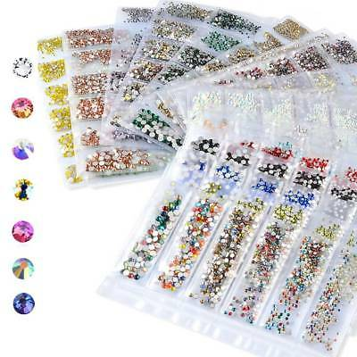 1680PCS Flat Back Nail Art Rhinestones Glitter Diamond Gems 3D Tips DIY Decor CH