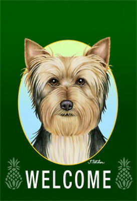 Large Indoor/Outdoor Welcome Flag (Green) - Silky Terrier 74102