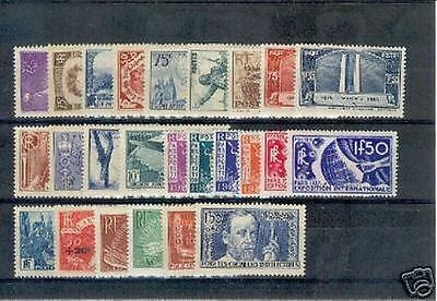 FRANCE ANNEE COMPLETE 1936 YVERT 309 / 333 25 TIMBRES NEUFS xx LUXE VALEUR:1344€