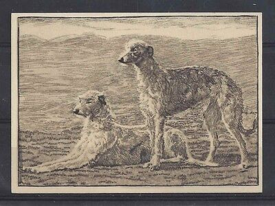 1938 UK Dog Art Etching Ardath Cigarette Trade Card SCOTTISH DEERHOUND VG+