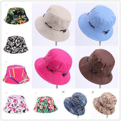 2018 Women's Floral Hat Wide Brim Summer Beach Boho Sun Protection Print Sunhat