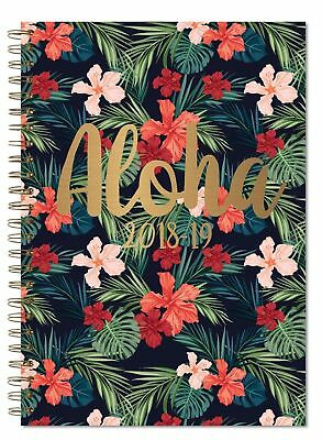 A5  2018-2019 Week to View Spiral Hardback Academic Student Flower Diary Planner