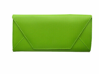 Green Ladies ENVELOPE Purse Wallet Clutch PU Leather Pocket Lady Hand Bag NEW