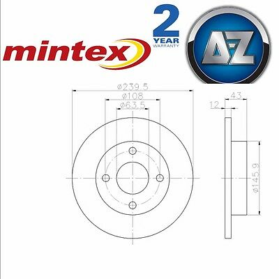 MINTEX BRAKE DISCS PAIR AND PADS KIT 239.5mm Diameter Front Axle MDK0022