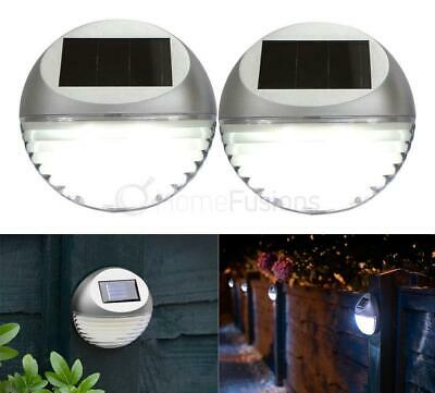 SET 10 x SILVER ROUND SOLAR LED FENCE WALL LIGHTS GARDEN WALL MOUNTED WHITE LIGH